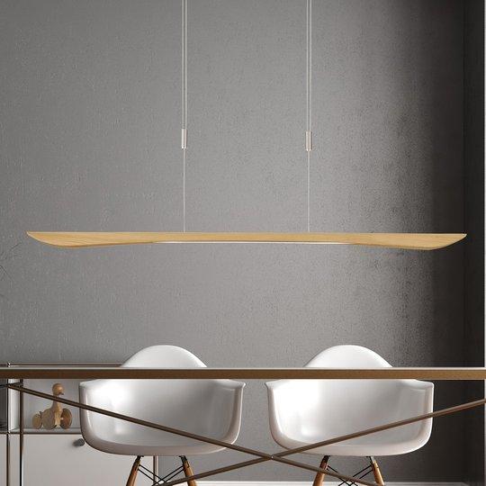 Lucande Hiba LED-pendellampe, naturlig eik, 148 cm