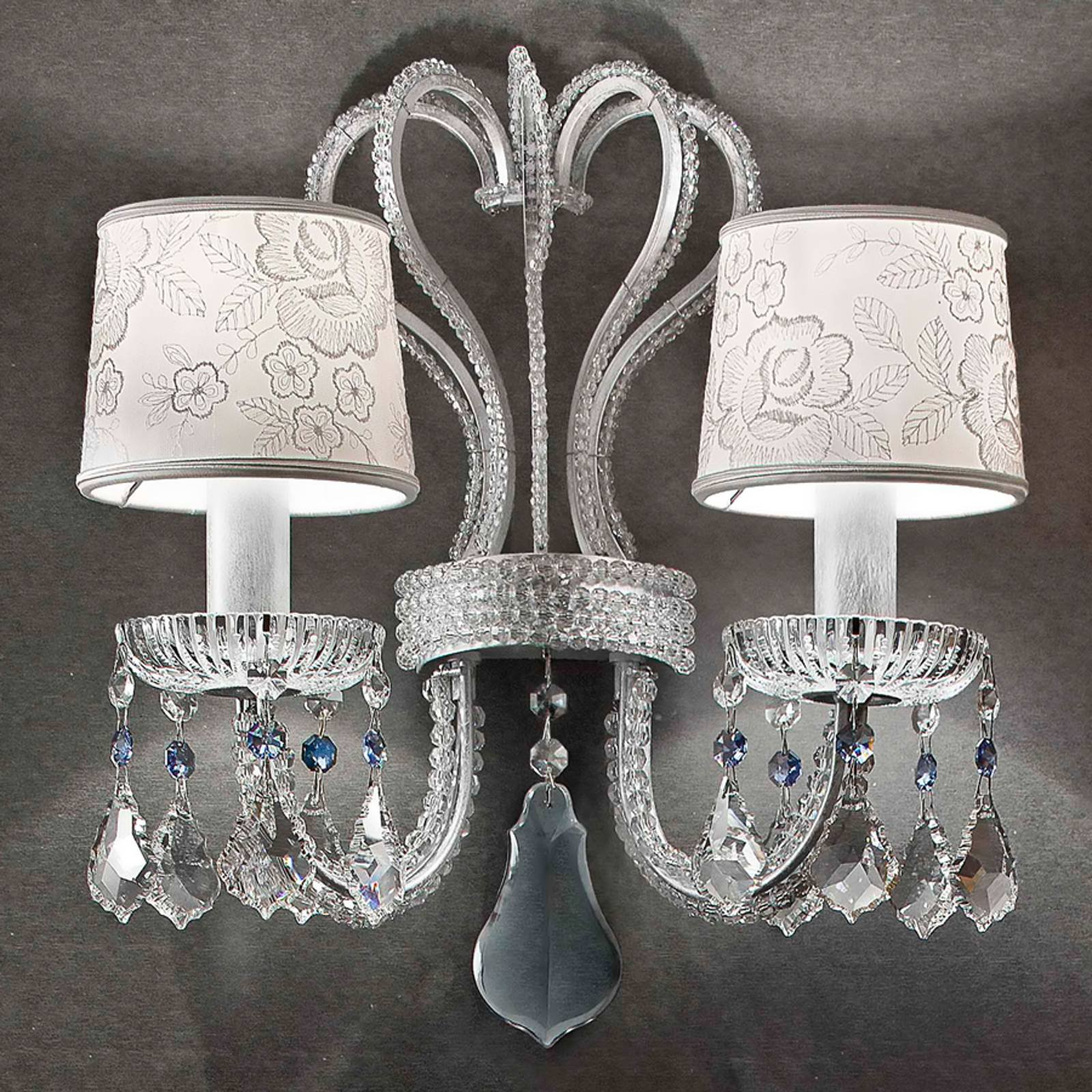 Galà vegglampe i hvit og sølv, 2 lyskilder