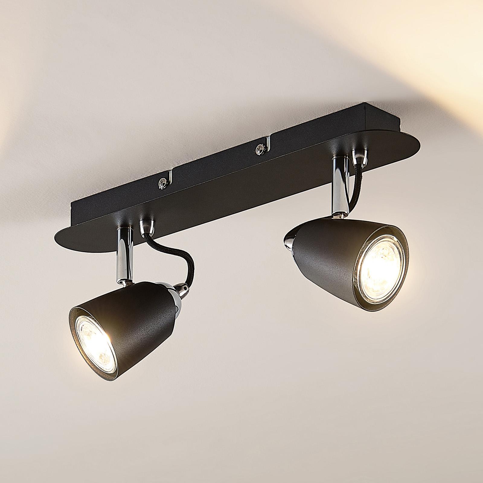 Lindby Noria -kattospotti musta, kaksilamppuinen