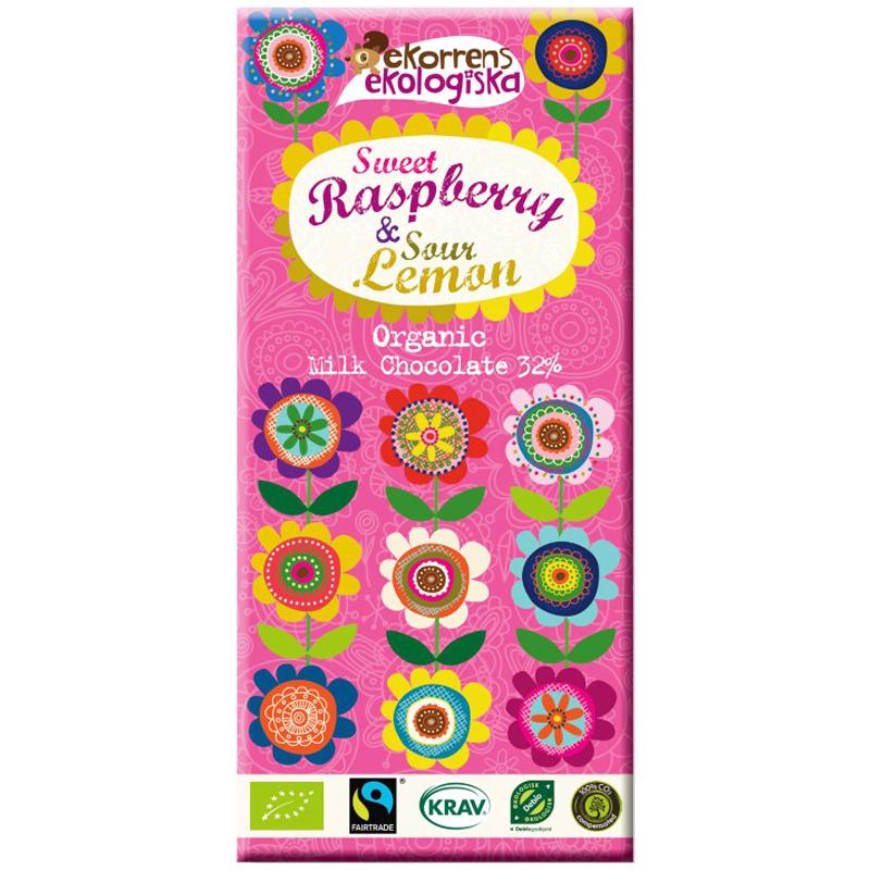 Luomu Maitosuklaa Sweet Raspberry & Sour Lemon - 60% alennus