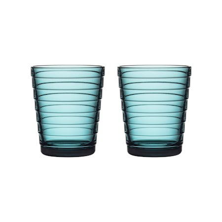Aino Aalto glass 22 cl havblå 2 stk.