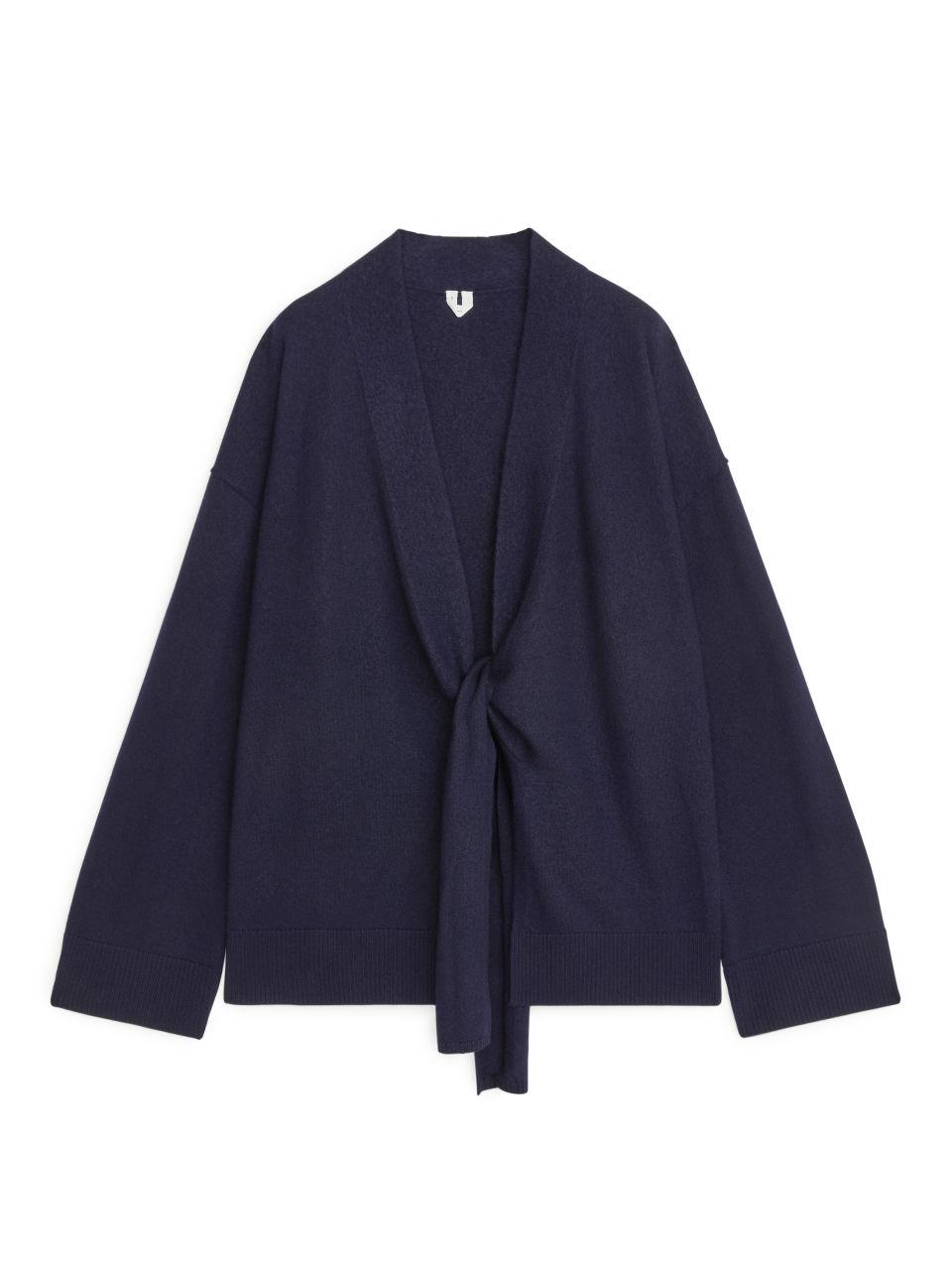 Boiled Wool Wrap Cardigan - Blue