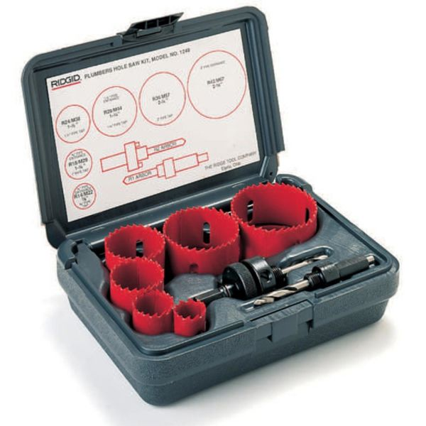 Ridgid 1248 Hullsagsett rørleggersett, 22–67 mm + 2 stk. holdere