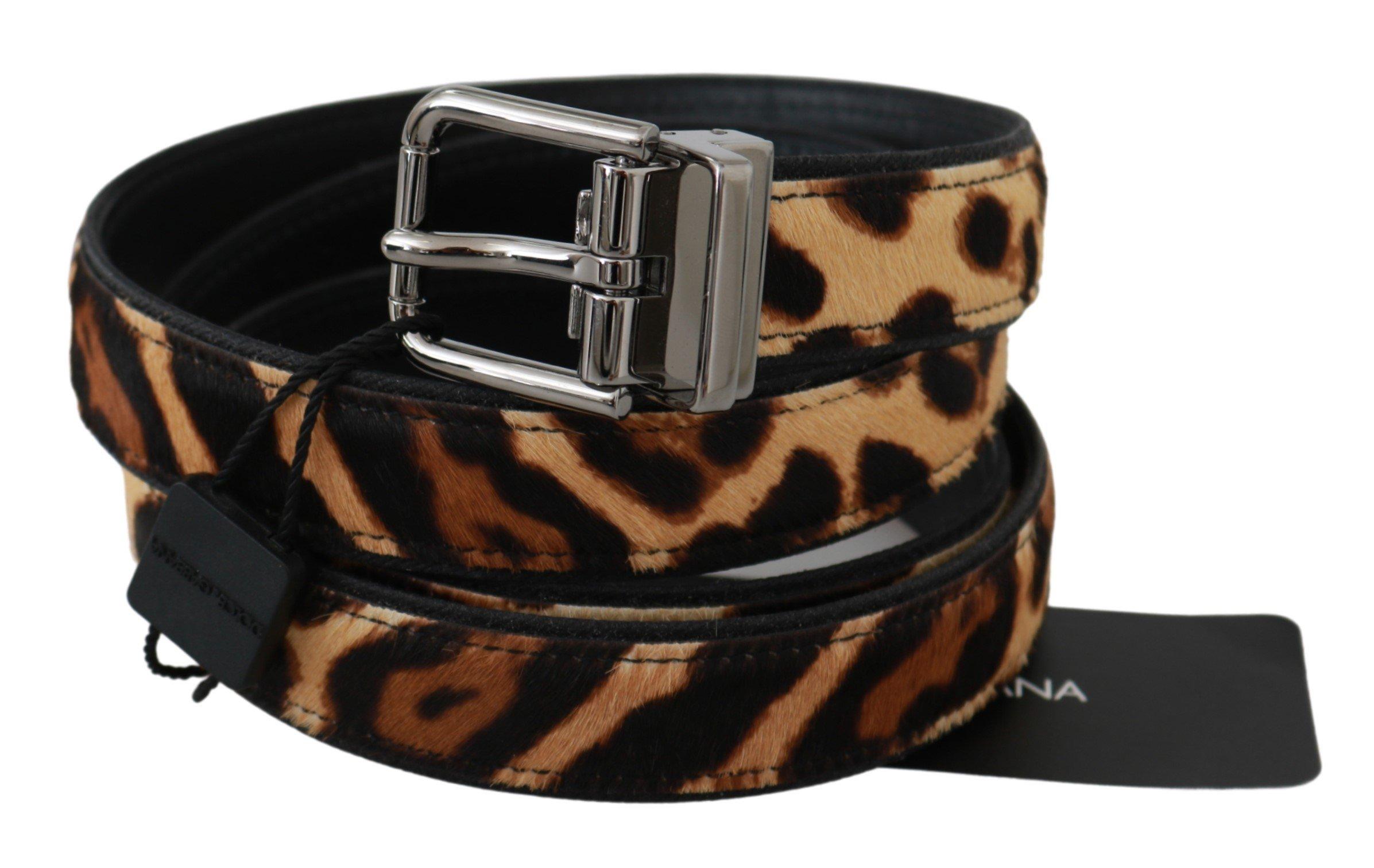 Dolce & Gabbana Men's Patterned Buckle Leather Belt Brown BEL60606 - 100 cm / 40 Inches
