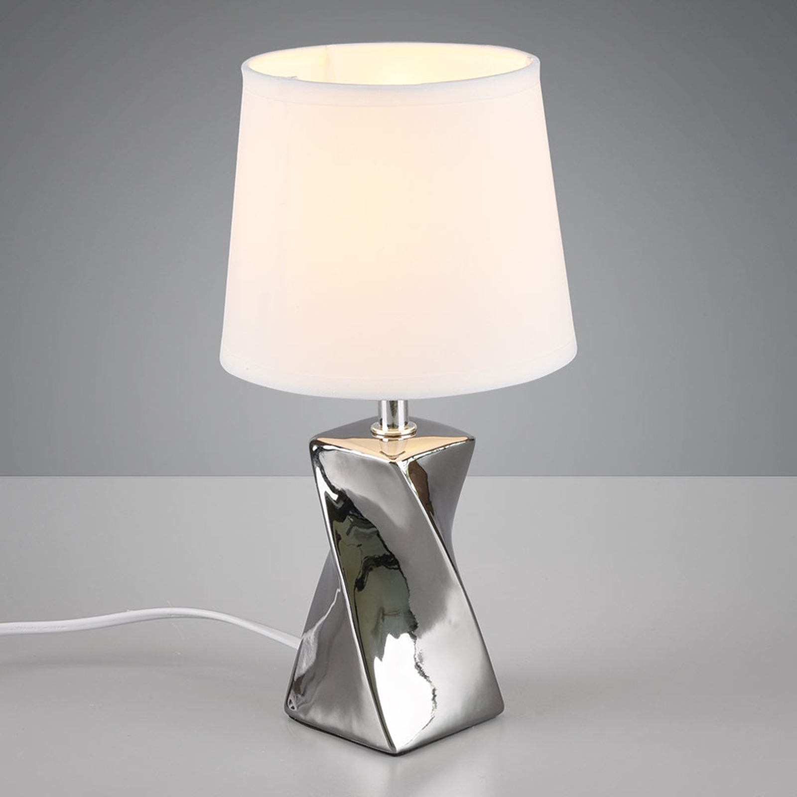 Pöytälamppu Abeba, Ø 15 cm, valkoinen-hopea