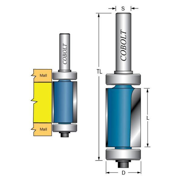 Cobolt 206-016XL Kantfres med doble styrelagre