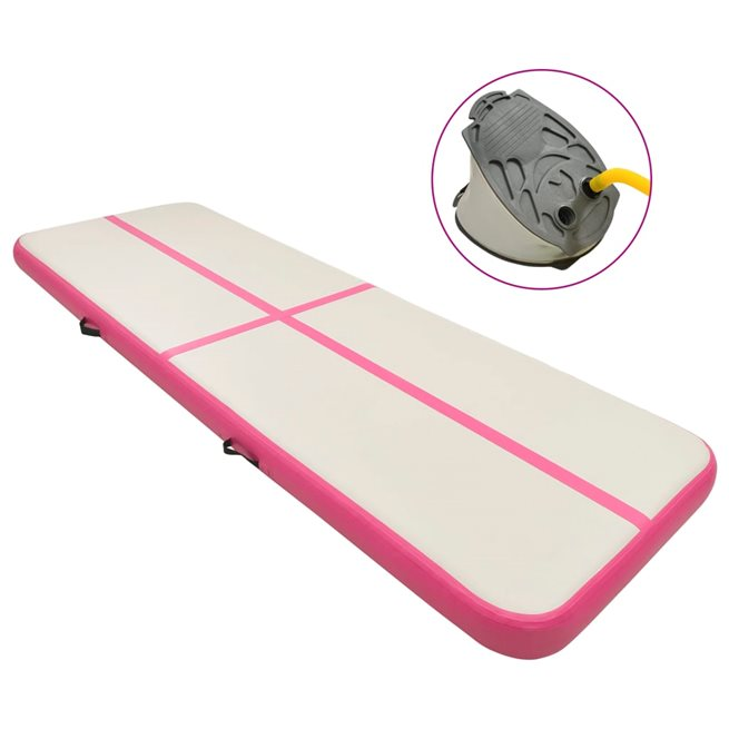 vidaXL Uppblåsbar gymnastikmatta med pump 400x100x15 cm PVC rosa