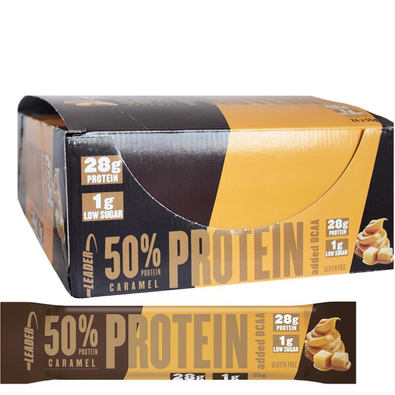 """Hel Låda Proteinbars """"Caramel"""" 24 x 55g - 51% rabatt"""