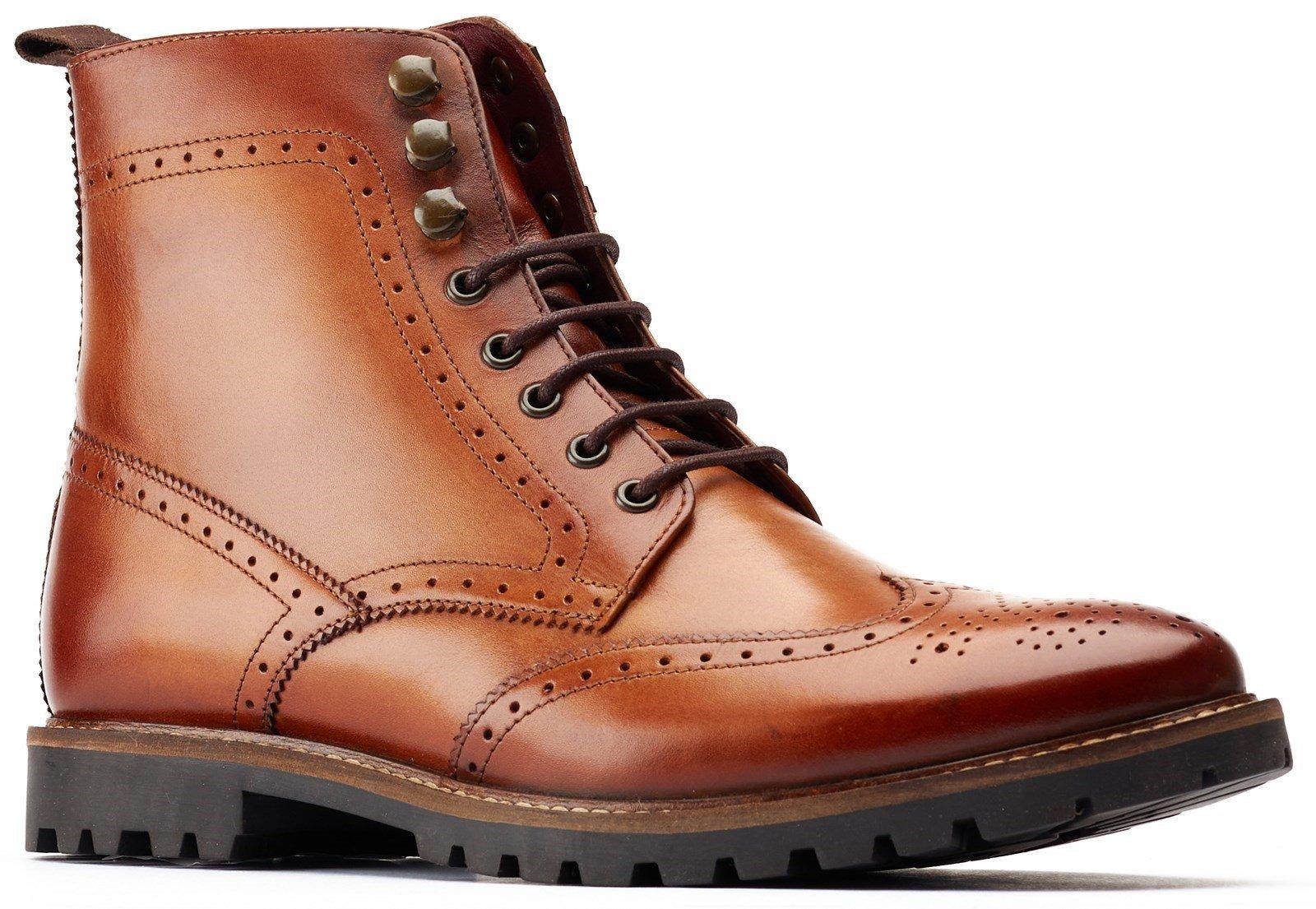 Base London Men's Boone Lace Up Boot Tan 31465 - Tan 6