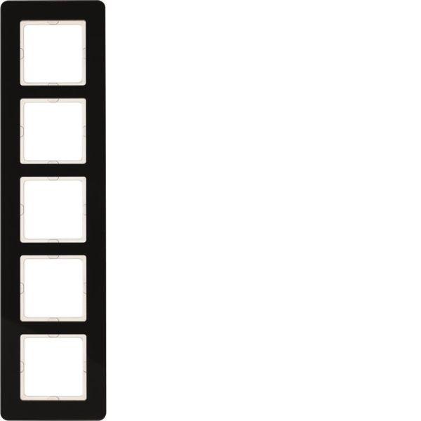 Hager 10156076 Peitekehys 5-paikkainen, Q.7, lasi Musta