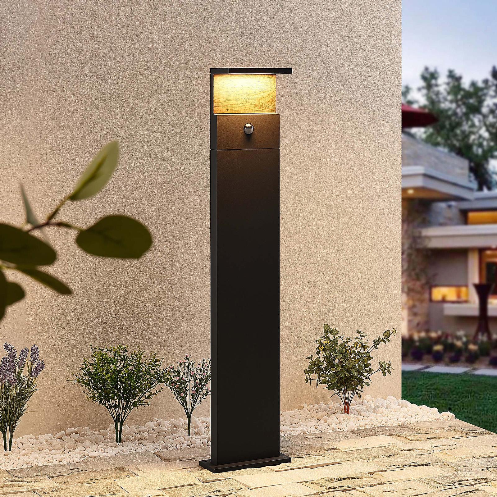 Lucande Lignus -LED-pylväsvalo, liiketunnistin