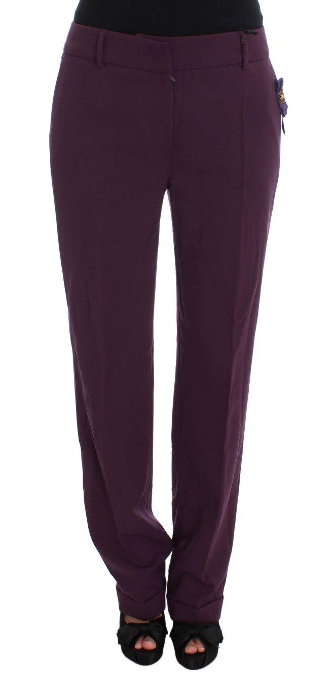 Cavalli Women's Polyester Blend Straight Dress Trouser Purple SIG32402 - IT46|XL