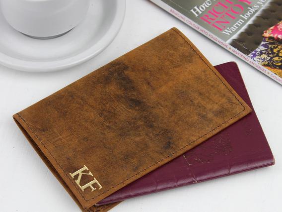 Leather Passport Holder Brown