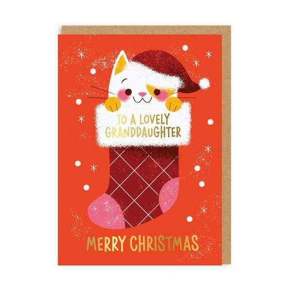 Granddaughter Kitten Christmas Card