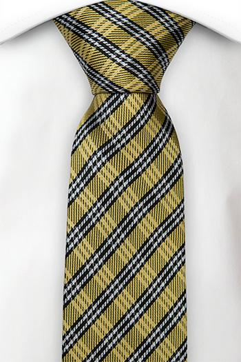 Silke Smale Slips, Detaljert rutet mønster i svart, gull og hvit, Gull, Pledd