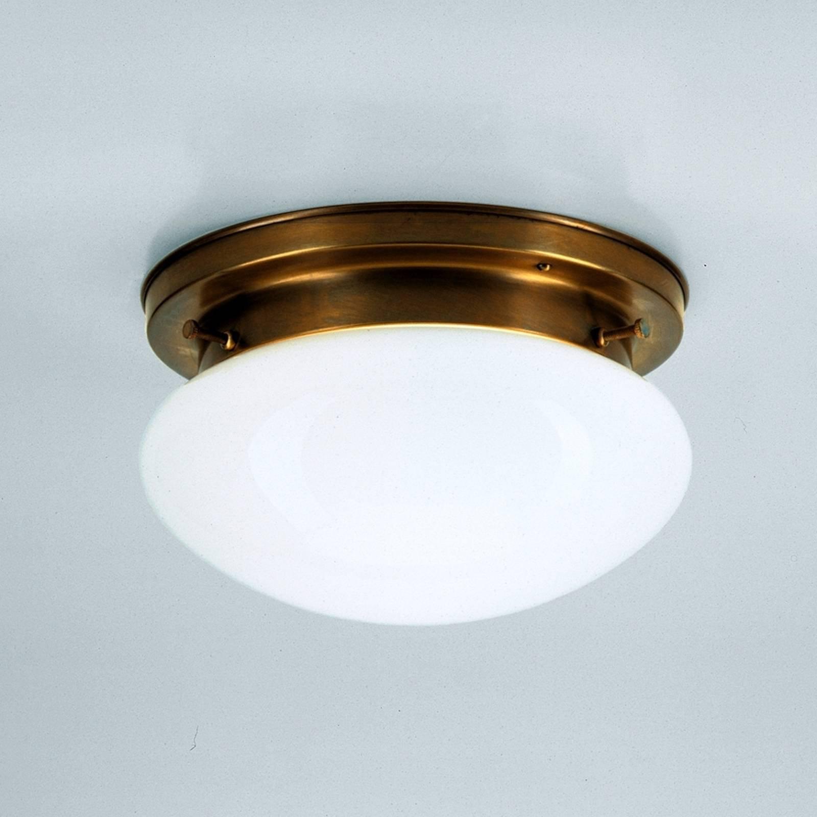 Opalhvit taklampe HARRY med messing