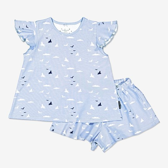 Todelt pyjamas med fiskemåke-trykk lysblå