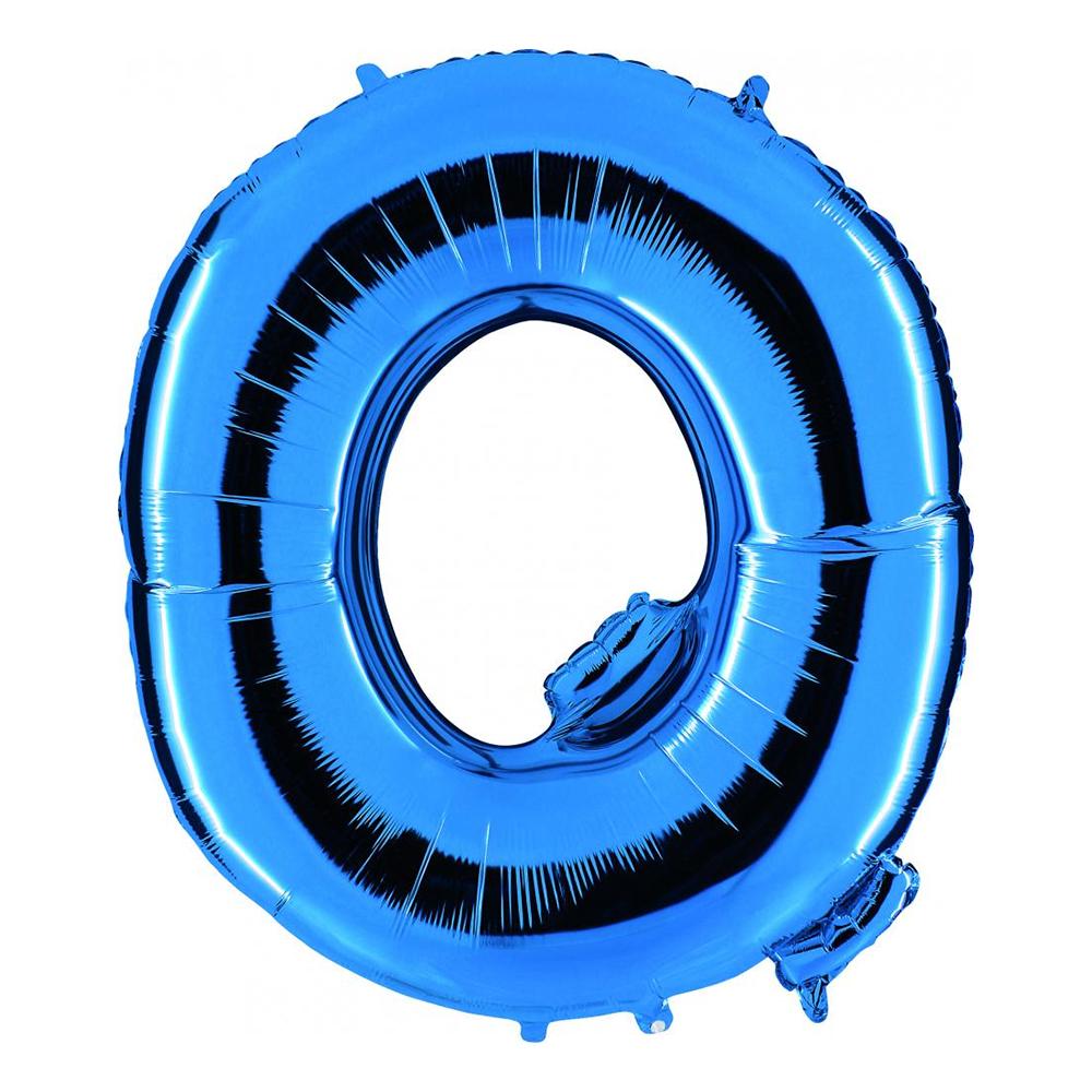 Bokstavsballong Blå Metallic - Bokstav Q