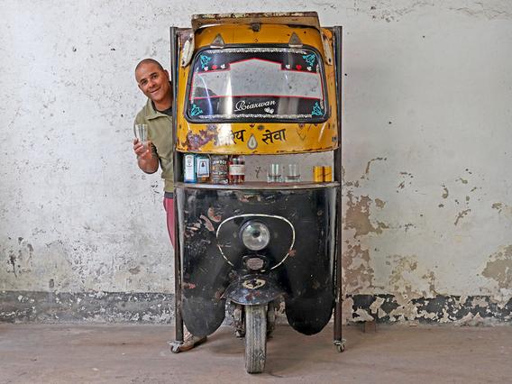 Upcycled Rickshaw (Tuk Tuk) Bar Yellow