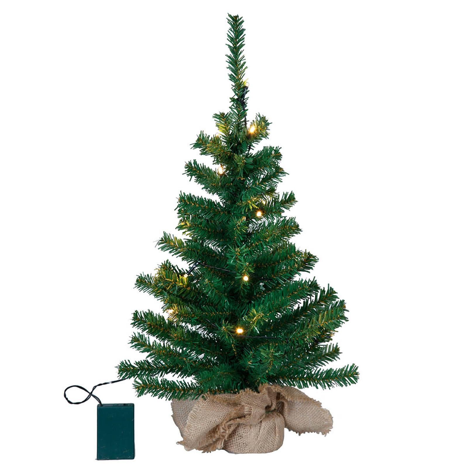 Pieni Toppy-LED-joulukuusi juuttisäkissä