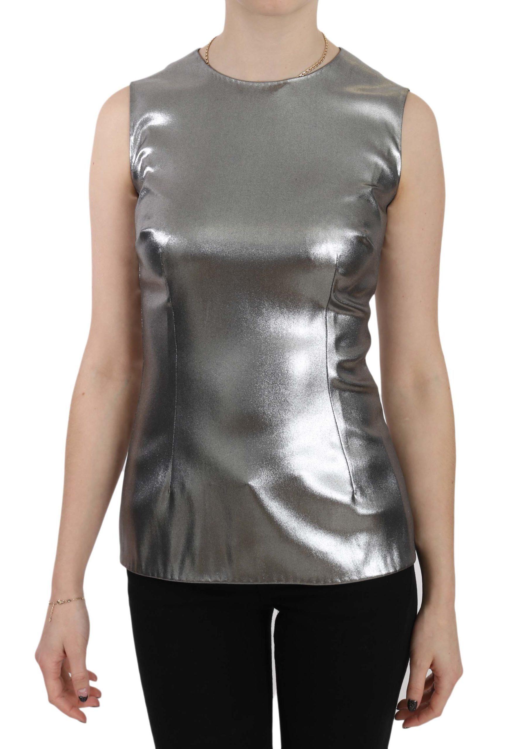 Dolce & Gabbana Women's Tulle Sleeveless Silk Top Silver TSH3251 - IT40|S