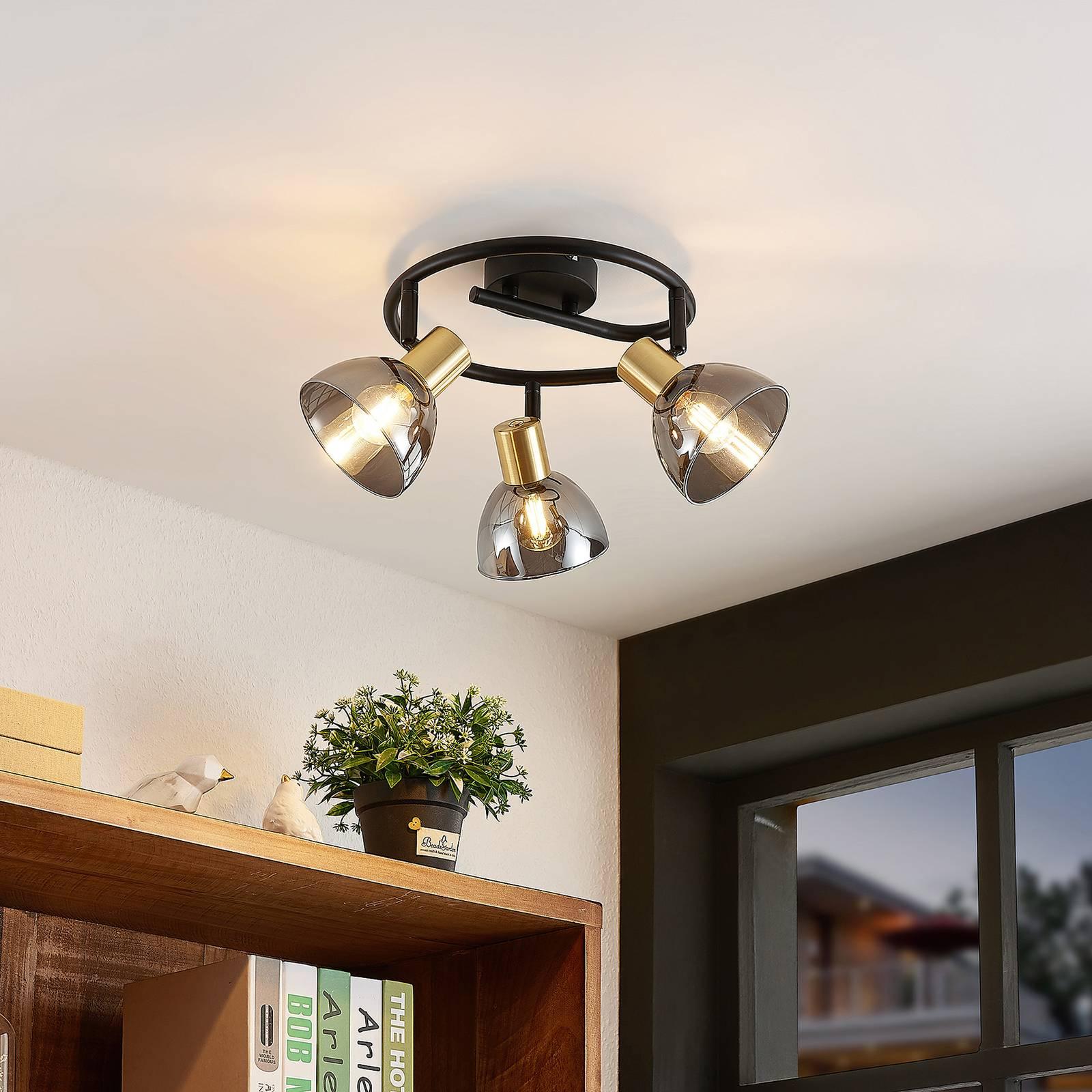 Lindby Aniol -kattovalaisin, pyöreä, 3-lamppuinen