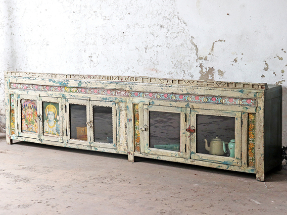 Long Antique Indian Sideboard Cream
