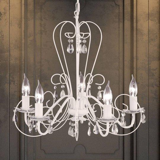 PRISMA-kattokruunu, 5 lamppua, valkoinen