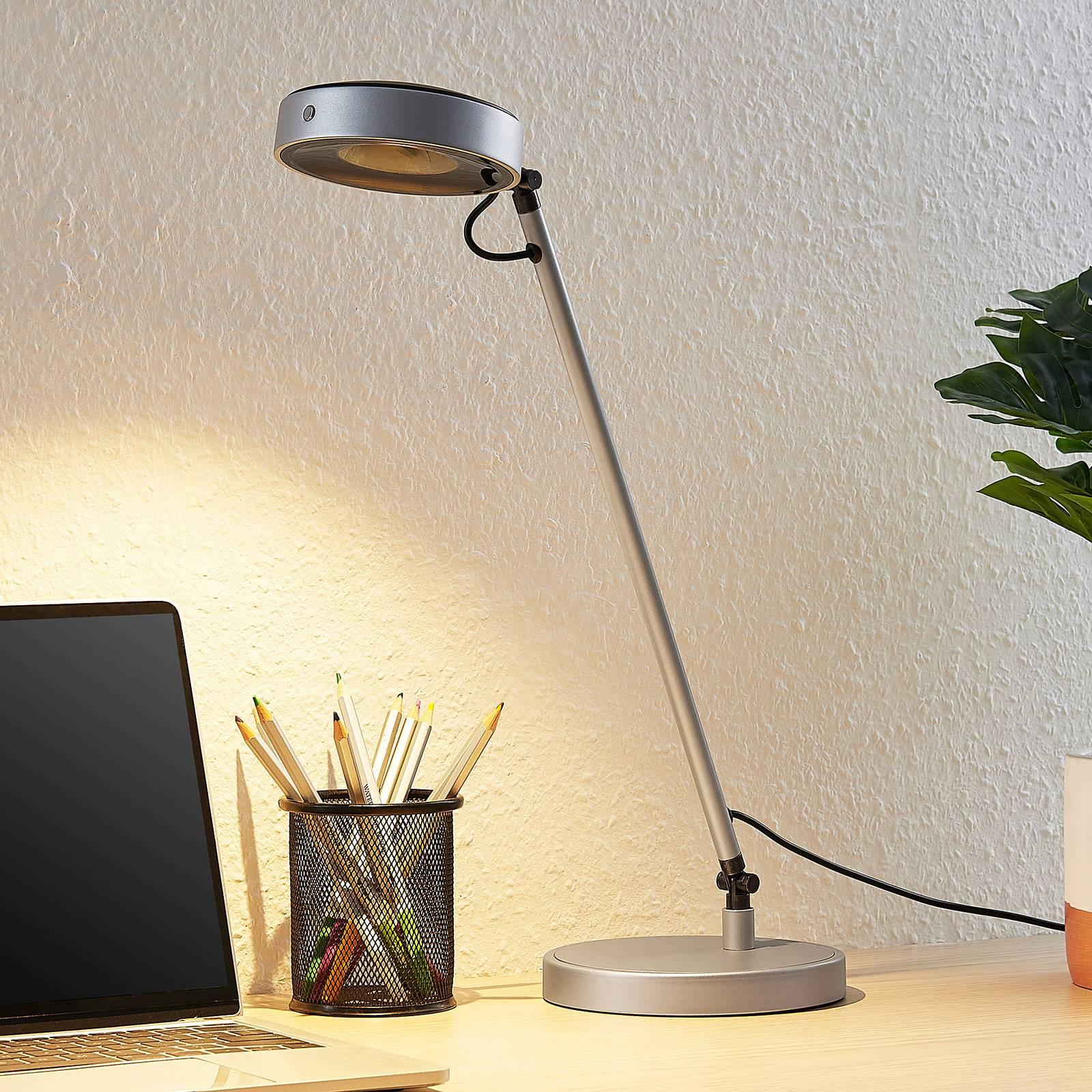Lucande Vilana -LED-pöytälamppu, hopea