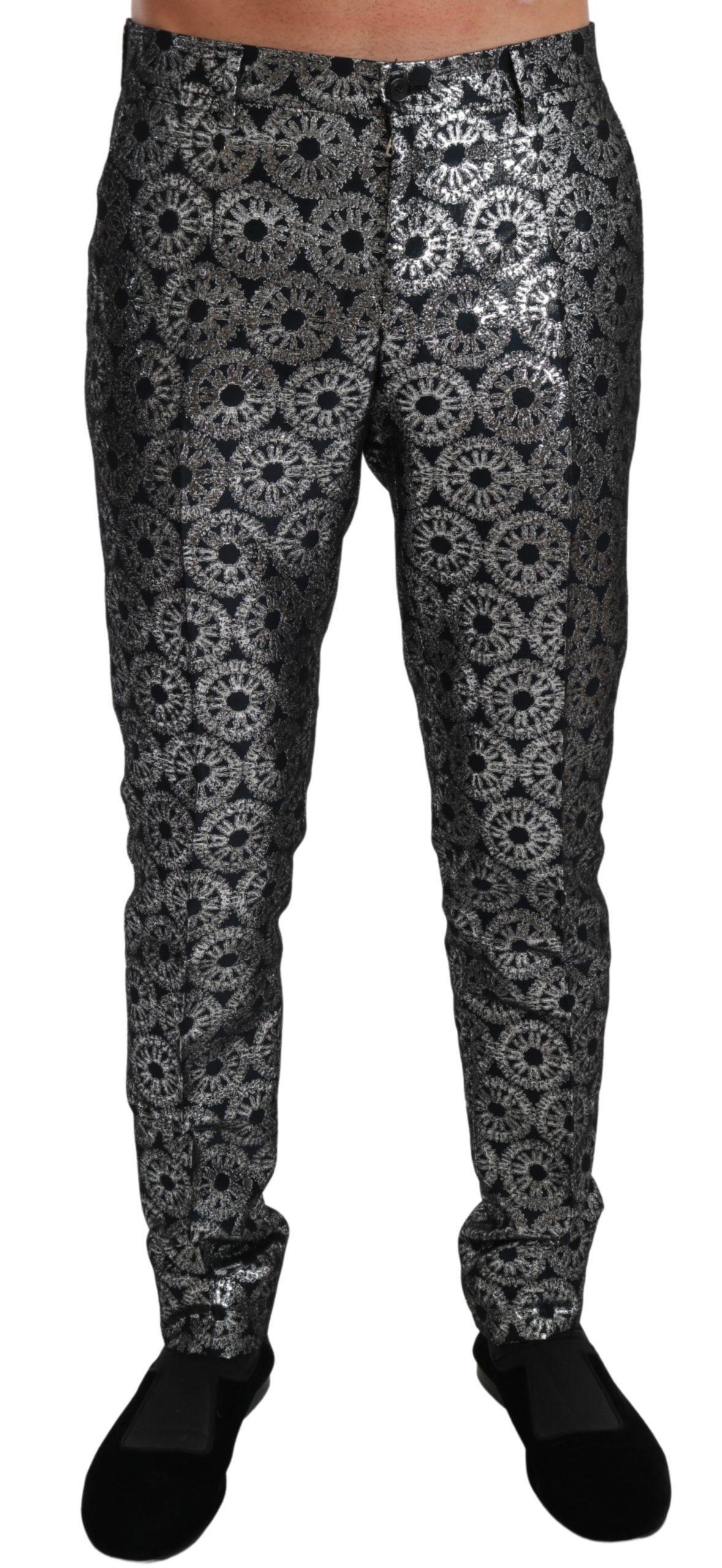 Dolce & Gabbana Men's Metallic Silver Trouser Black PAN71040 - IT46 | S