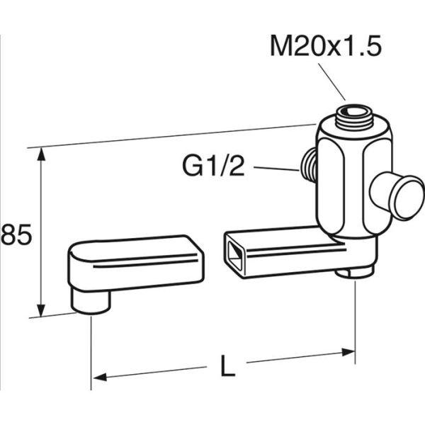 Gustavsberg GB41635270 Kran svingbar, M20 x 1,5 x G15