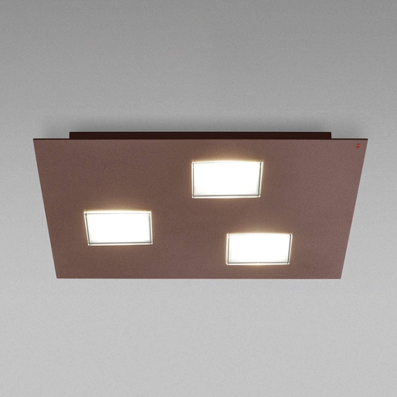 Fabbian Quarter - LED-taklampe 3 lyskilder, brun