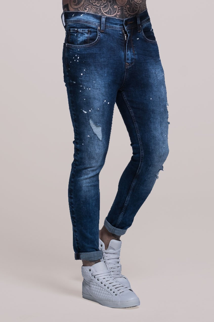 Johnny Skinny Fit Stretch Distressed Men's Jeans - Blue, 30 inch waist