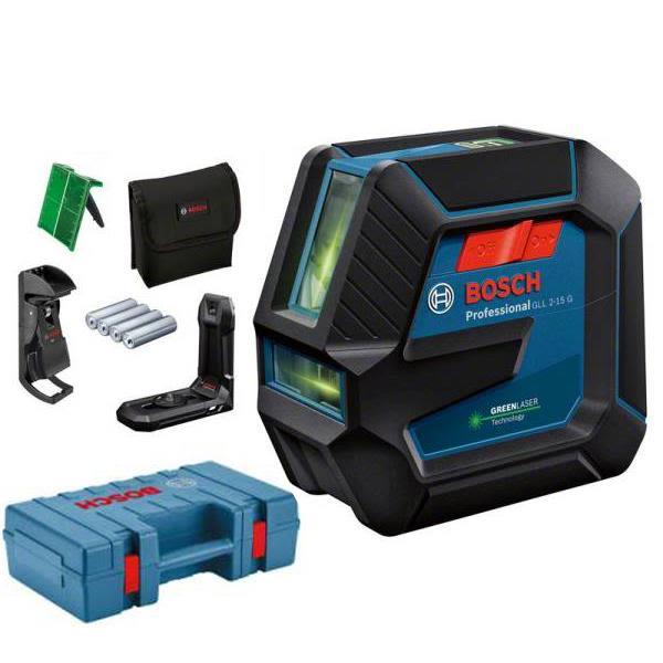 Bosch GLL 2-15/LB10 Linjelaser grønn, med veske og batterier