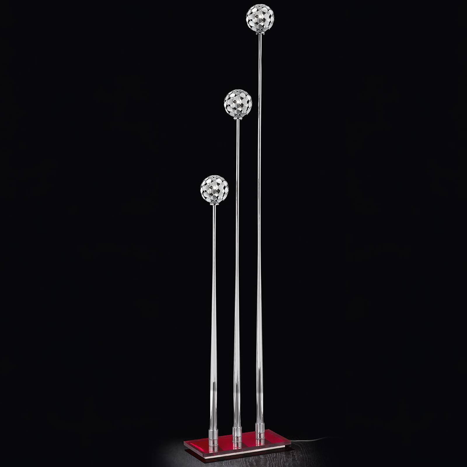 Sfera gulvlampe med 3 lyskilder, rød fot