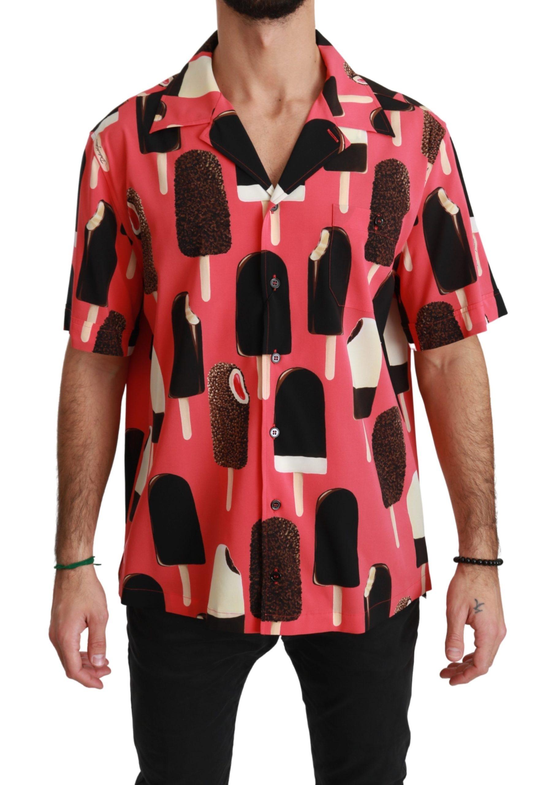 Dolce & Gabbana Men's Ice Cream Print Casual Shirt Pink TSH4465 - 44 | 3XL