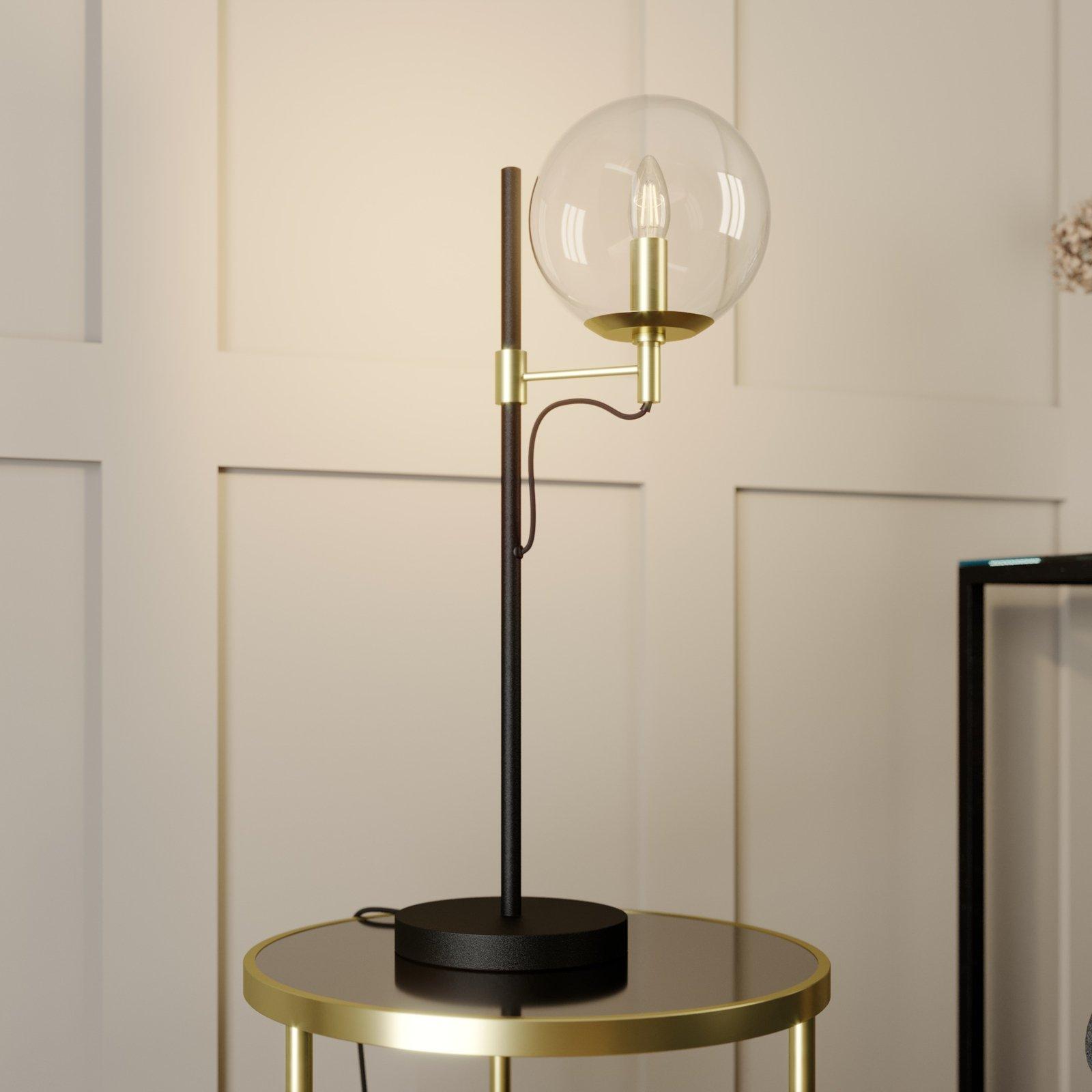 Lucande Sotiana bordlampe, glasskule, messing