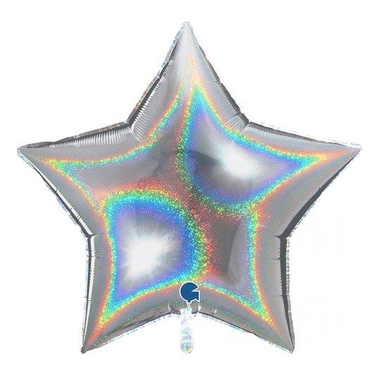 Folieballong Stjärna Glitter Silver