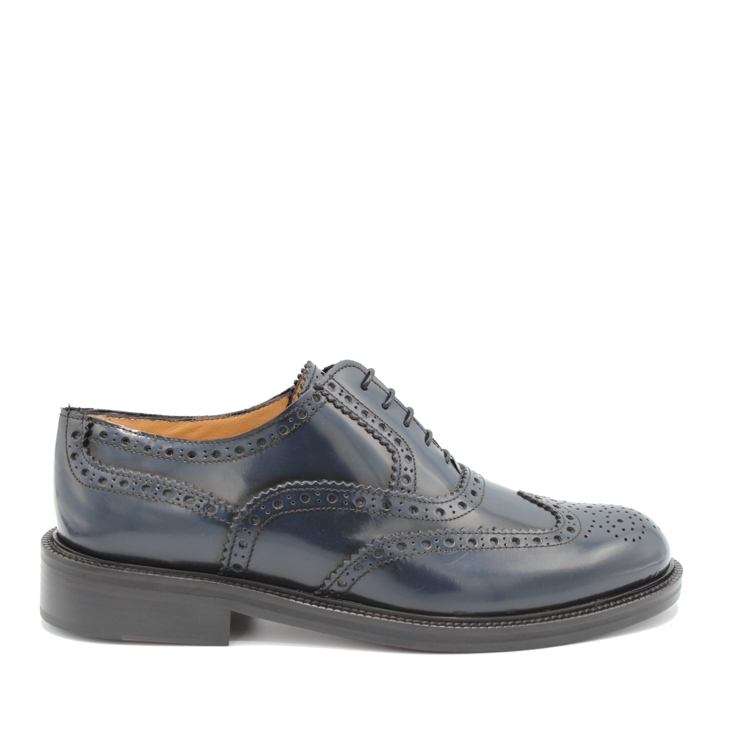 Saxone of Scotland Men's Spazzolato Leather Laced Brogue Shoe Blue 080_blue - EU40.5/US7.5