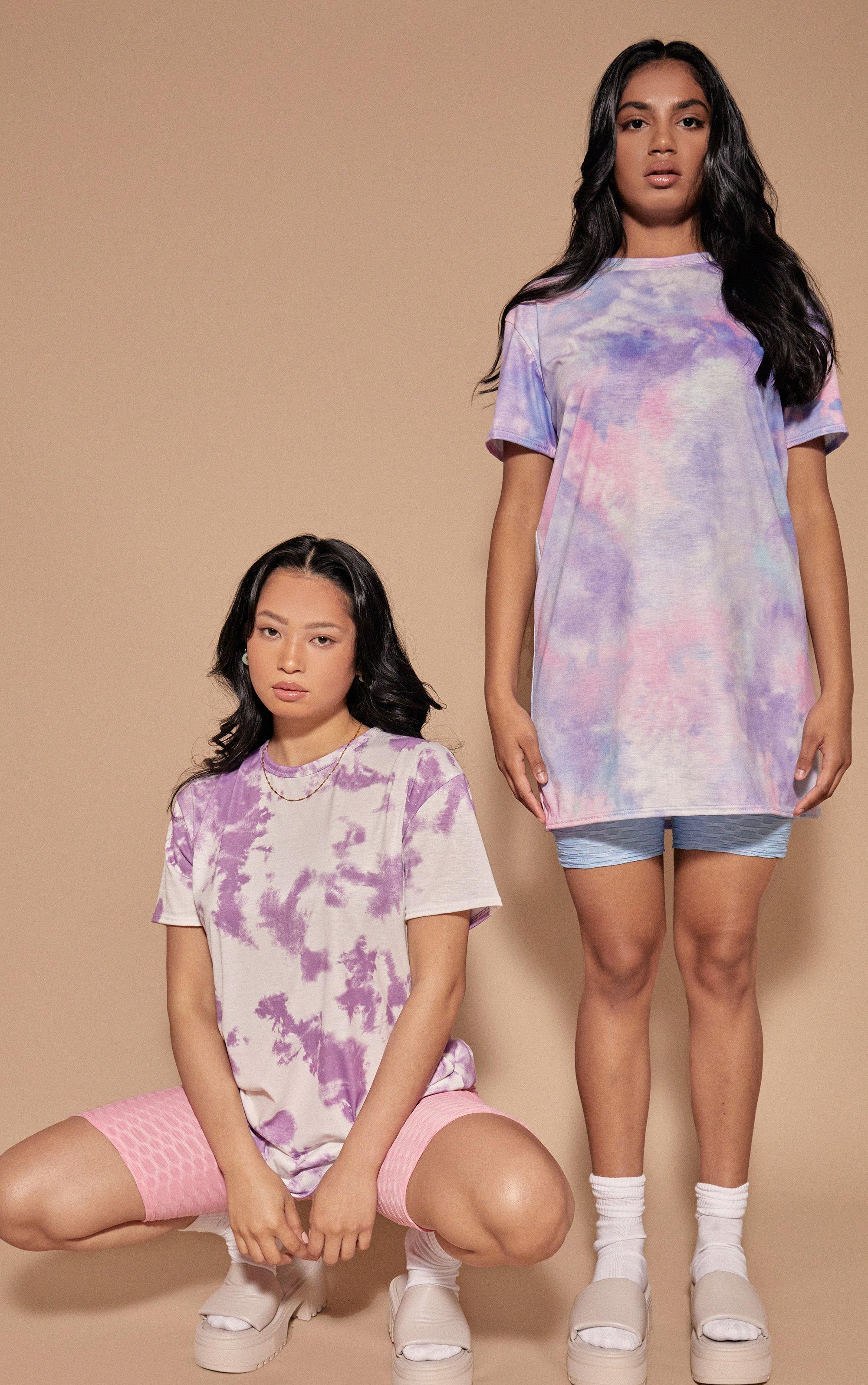 Tie Dye Oversized T-Shirt Dress - Purple / 8