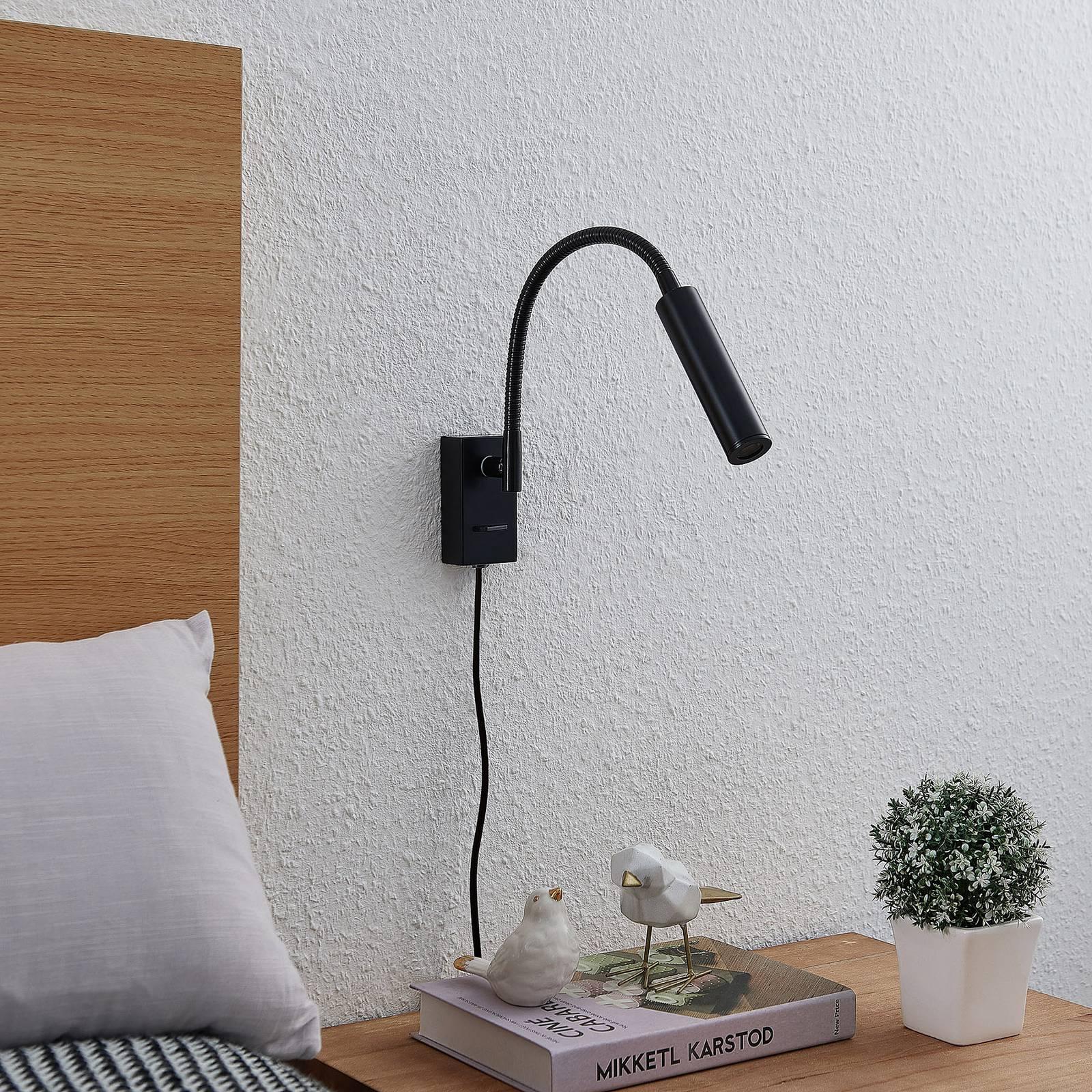 Lucande Anaella -LED-seinävalaisin, musta, 47 cm