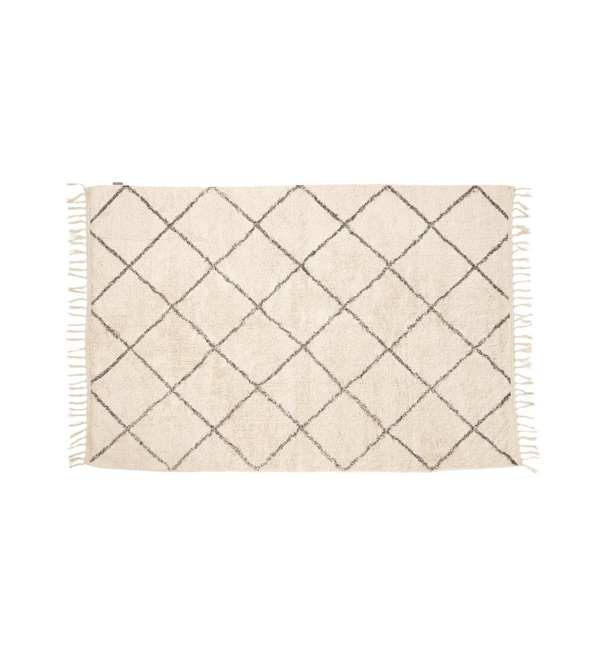 Matta rombmönstrad 120 x 180 vit och grå, Hubsch