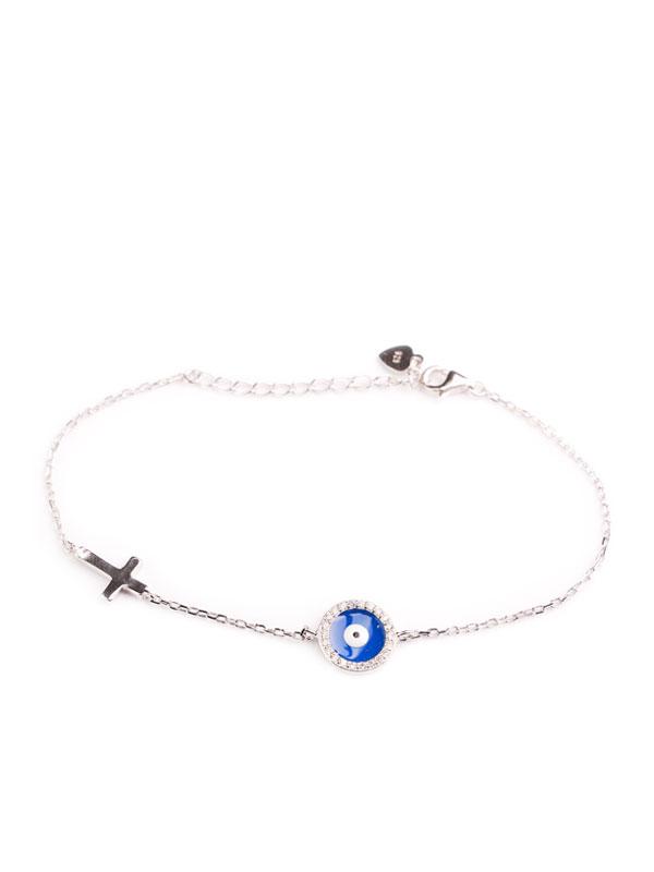 Klockiasmycket Silver Armband Blue Eye BHD0057