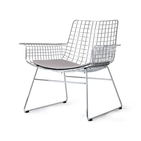Metall Wire Lounge Chair Silver m Stolsdyna