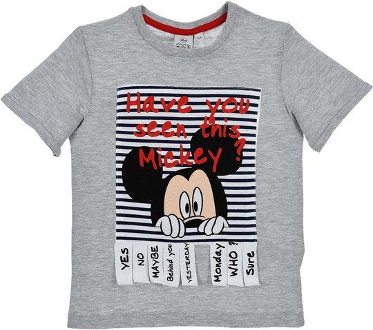 Disney Mickey T-Shirt, Lysegrå 8 År