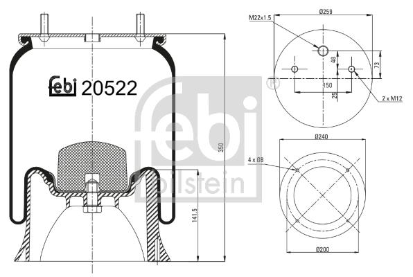 Metallipalje, ilmajousitus FEBI BILSTEIN 20522