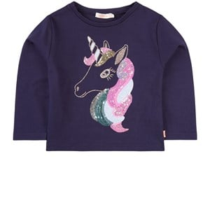 Billieblush Glitter Unicorn Print Long Sleeve Tee Tröja Marinblå 2 år