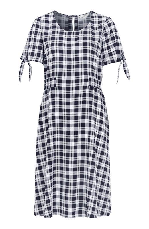 Cellbes Mönstrad klänning med smock Marin Rutig