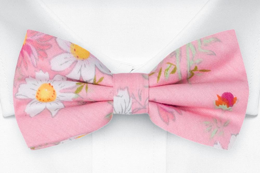 Bomull Sløyfer Knyttede, Tusenfryd og kløver på rosa base, Rosa, Blomster