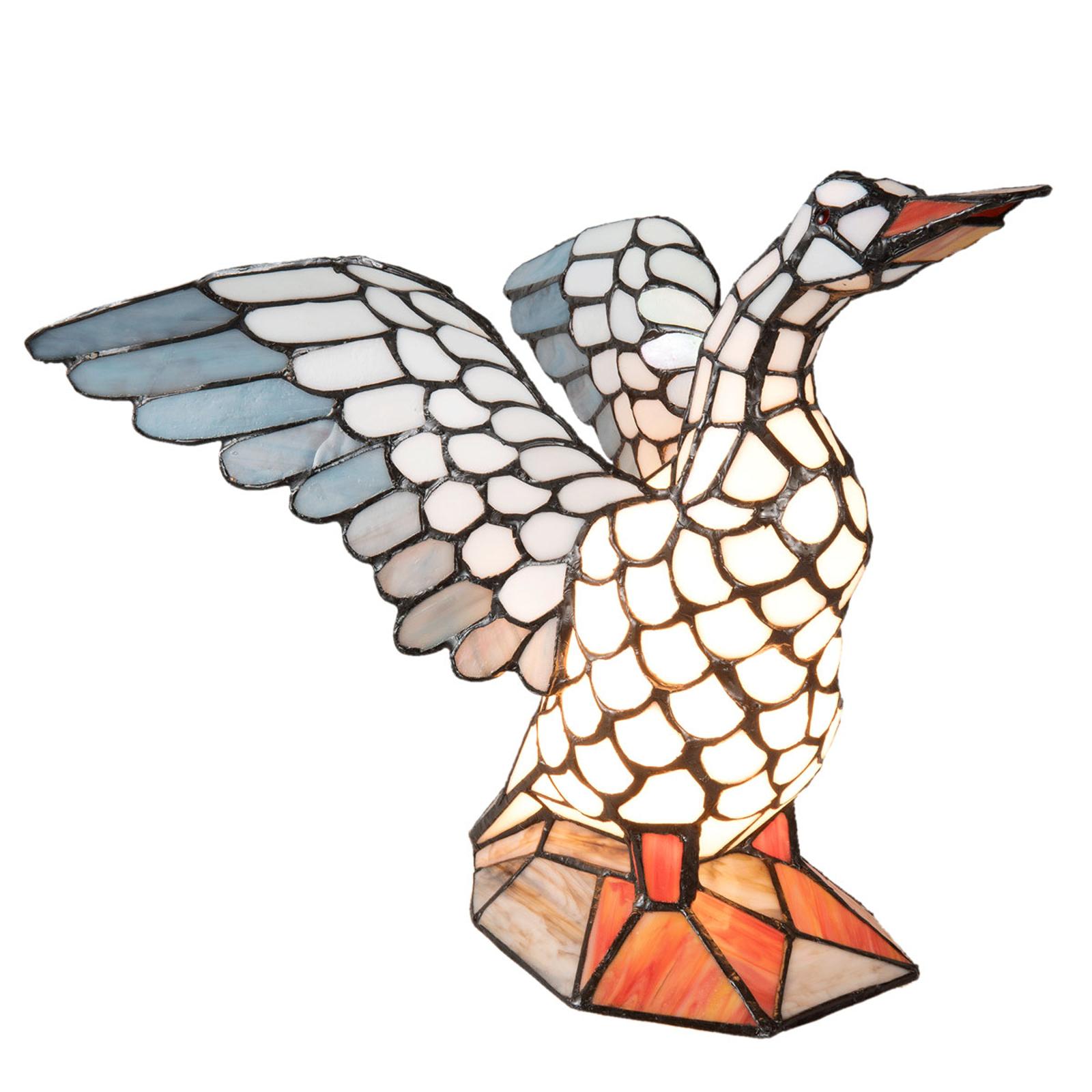 Pöytälamppu 5928 tiffany-tyyliä, hanhen muotoinen